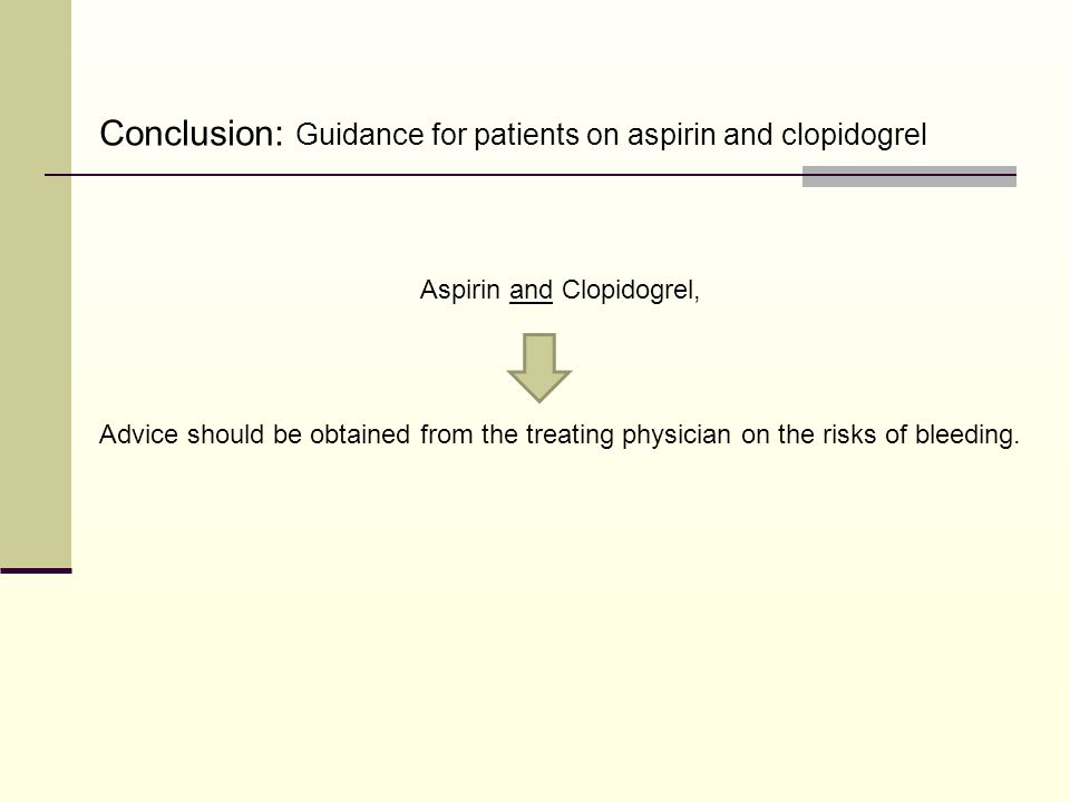 Aspirin and Clopidogrel, Advice should be obtained from the treating physician on the risks of bleeding. Conclusion: Guidance for patients on aspirin
