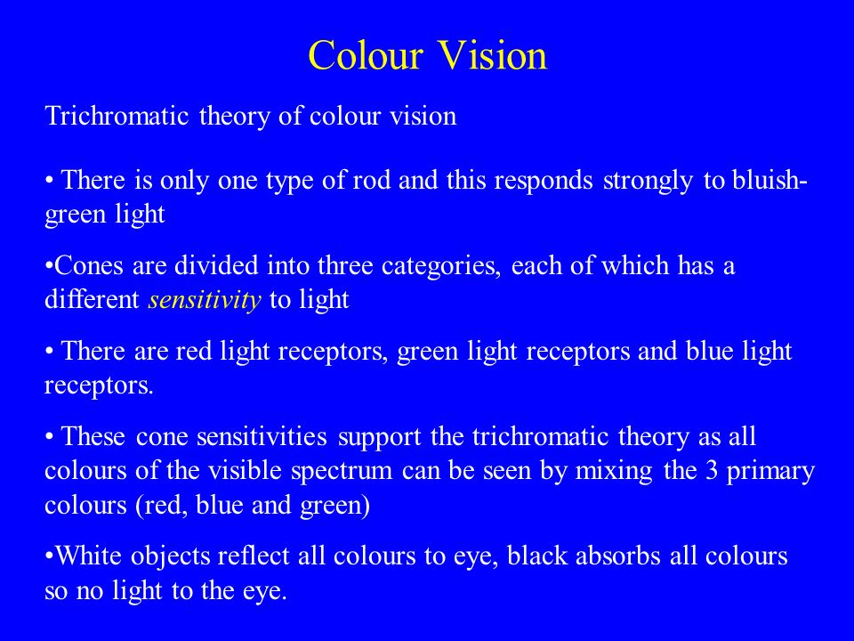 Wavelengths of light absorbed by different cones