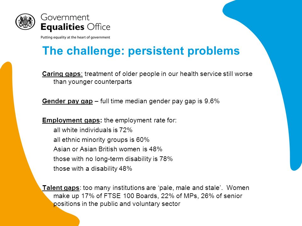 The challenge: persistent problems Caring gaps: treatment of older people in our health service still worse than younger counterparts Gender pay gap – full time median gender pay gap is 9.6% Employment gaps: the employment rate for: all white individuals is 72% all ethnic minority groups is 60% Asian or Asian British women is 48% those with no long-term disability is 78% those with a disability 48% Talent gaps: too many institutions are pale, male and stale.