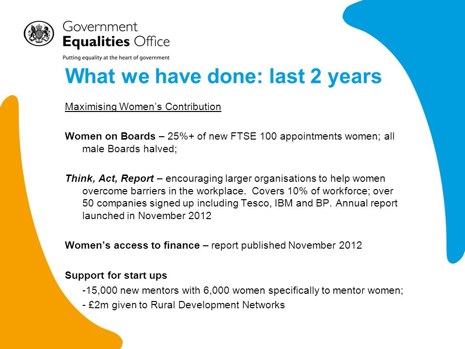 What we have done: last 2 years Changing Culture and removing barriers LGB&T action plans – first ever cross-Government action plans: tackling homophobic bullying in schools, improving our response rate to hate crime, enabling civil partnerships on religious premises LGB&T Sports Charter: signed by 40+ National Governing Bodies Internationally – tackling barriers on LGB&T (first ever Council of Europe action) and VAWG Access to elected office – just launched new programme of support for disabled people standing for elections Older People – implemented legislation to ban discrimination in goods facilities and services (GFS); new signposting service on insurance launched Body Confidence: support for parents and schools