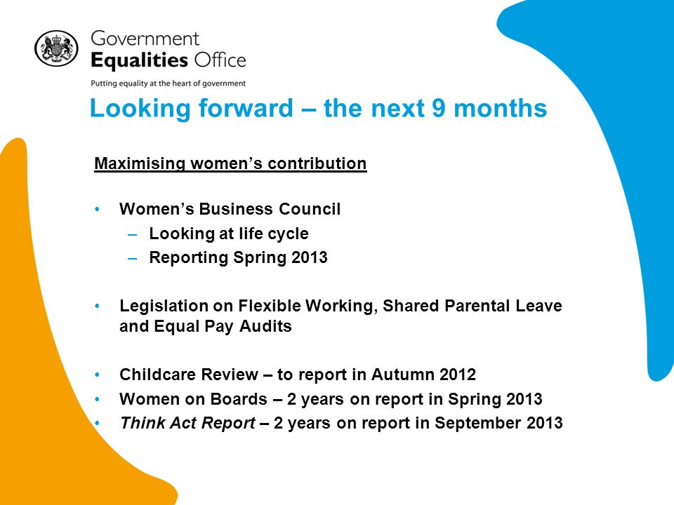Looking forward – the next 9 months Maximising womens contribution Womens Business Council –Looking at life cycle –Reporting Spring 2013 Legislation on Flexible Working, Shared Parental Leave and Equal Pay Audits Childcare Review – to report in Autumn 2012 Women on Boards – 2 years on report in Spring 2013 Think Act Report – 2 years on report in September 2013