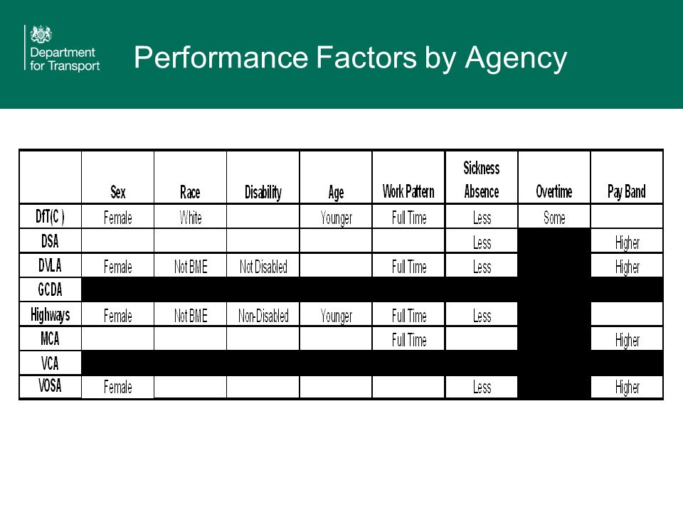Performance Factors by Agency