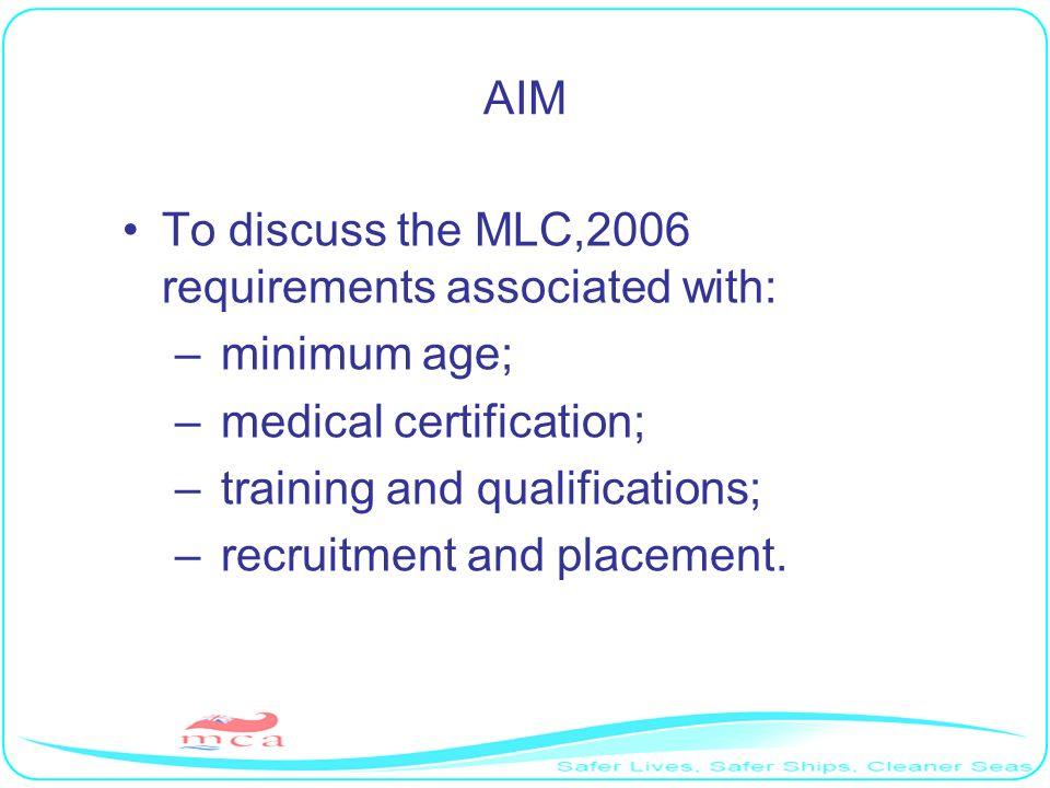 MINIMUM AGE ( Regulation 1.1.Standard A1.1.