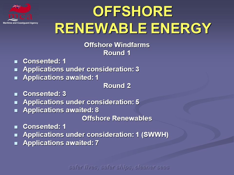 safer lives, safer ships, cleaner seas OFFSHORE RENEWABLE ENERGY Offshore Windfarms Round 1 Consented: 1 Consented: 1 Applications under consideration: 3 Applications under consideration: 3 Applications awaited: 1 Applications awaited: 1 Round 2 Consented: 3 Consented: 3 Applications under consideration: 5 Applications under consideration: 5 Applications awaited: 8 Applications awaited: 8 Offshore Renewables Consented: 1 Consented: 1 Applications under consideration: 1 (SWWH) Applications under consideration: 1 (SWWH) Applications awaited: 7 Applications awaited: 7