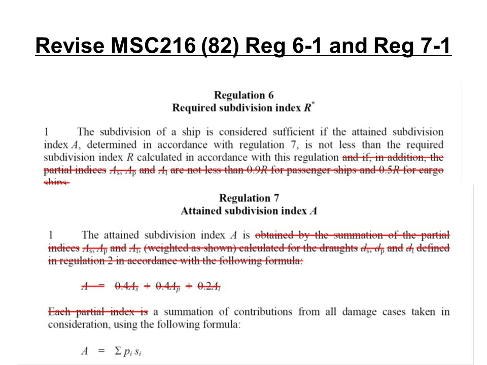 Revise MSC216 (82) Reg 6-1 and Reg 7-1