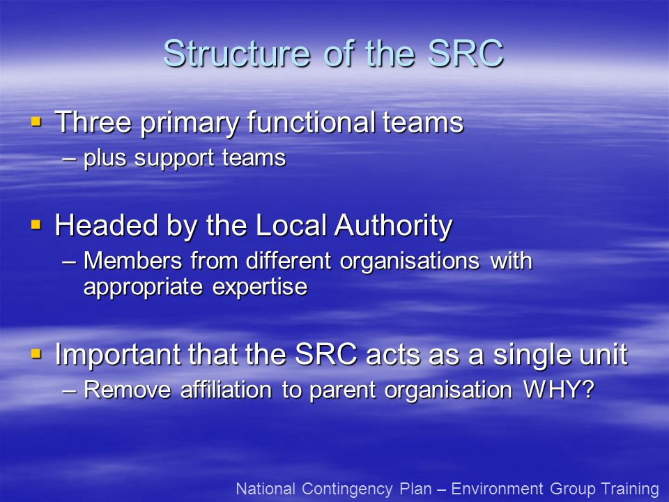 Structure of the SRC Three primary functional teams Three primary functional teams –plus support teams Headed by the Local Authority Headed by the Loc