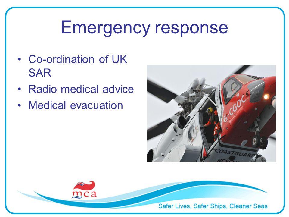 Emergency response Co-ordination of UK SAR Radio medical advice Medical evacuation