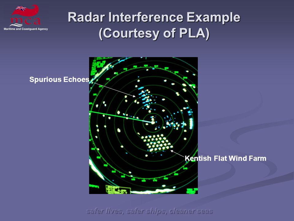 safer lives, safer ships, cleaner seas Radar Interference Example (Courtesy of PLA) Kentish Flat Wind Farm Spurious Echoes