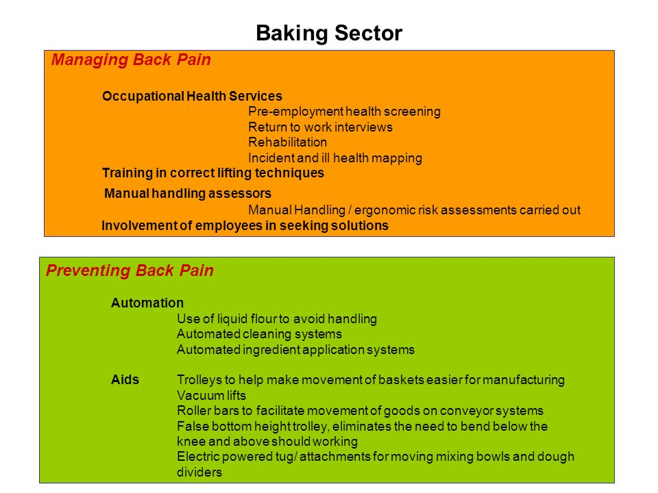 Baking Sector Managing Back Pain Occupational Health Services Pre-employment health screening Return to work interviews Rehabilitation Incident and ill health mapping Training in correct lifting techniques Manual handling assessors Manual Handling / ergonomic risk assessments carried out Involvement of employees in seeking solutions Preventing Back Pain Automation Use of liquid flour to avoid handling Automated cleaning systems Automated ingredient application systems AidsTrolleys to help make movement of baskets easier for manufacturing Vacuum lifts Roller bars to facilitate movement of goods on conveyor systems False bottom height trolley, eliminates the need to bend below the knee and above should working Electric powered tug/ attachments for moving mixing bowls and dough dividers