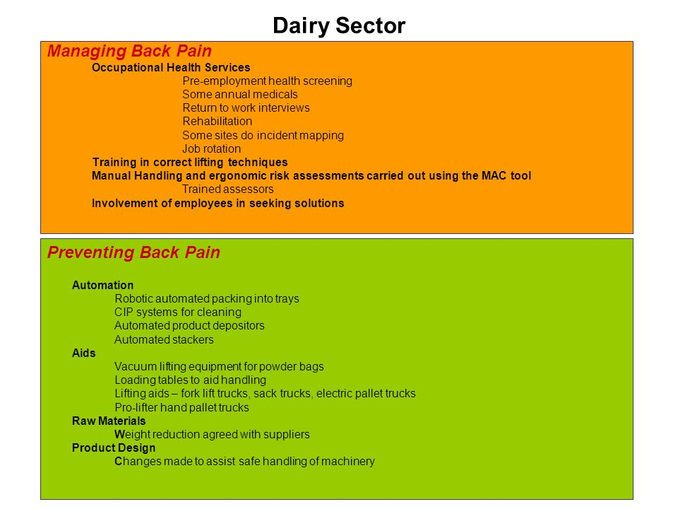 Dairy Sector Managing Back Pain Occupational Health Services Pre-employment health screening Some annual medicals Return to work interviews Rehabilitation Some sites do incident mapping Job rotation Training in correct lifting techniques Manual Handling and ergonomic risk assessments carried out using the MAC tool Trained assessors Involvement of employees in seeking solutions Preventing Back Pain Automation Robotic automated packing into trays CIP systems for cleaning Automated product depositors Automated stackers Aids Vacuum lifting equipment for powder bags Loading tables to aid handling Lifting aids – fork lift trucks, sack trucks, electric pallet trucks Pro-lifter hand pallet trucks Raw Materials Weight reduction agreed with suppliers Product Design Changes made to assist safe handling of machinery