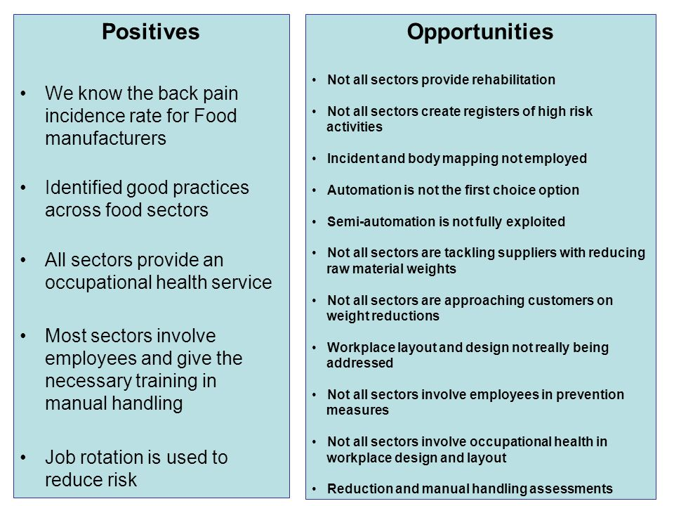 Positives We know the back pain incidence rate for Food manufacturers Identified good practices across food sectors All sectors provide an occupational health service Most sectors involve employees and give the necessary training in manual handling Job rotation is used to reduce risk Opportunities Not all sectors provide rehabilitation Not all sectors create registers of high risk activities Incident and body mapping not employed Automation is not the first choice option Semi-automation is not fully exploited Not all sectors are tackling suppliers with reducing raw material weights Not all sectors are approaching customers on weight reductions Workplace layout and design not really being addressed Not all sectors involve employees in prevention measures Not all sectors involve occupational health in workplace design and layout Reduction and manual handling assessments