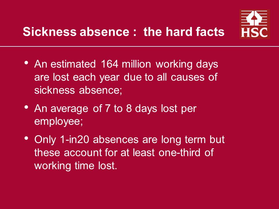 Sickness absence : the hard facts An estimated 164 million working days are lost each year due to all causes of sickness absence; An average of 7 to 8 days lost per employee; Only 1-in20 absences are long term but these account for at least one-third of working time lost.
