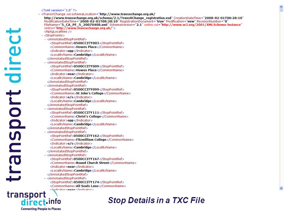 Stop Details in a TXC File