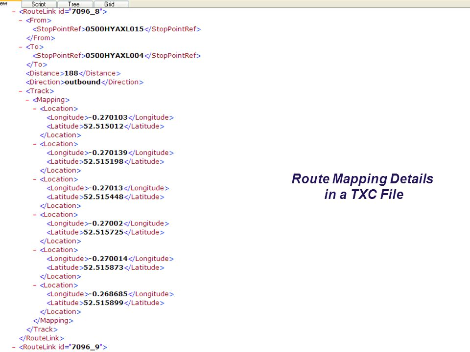 Route Mapping Details in a TXC File Route Mapping Details in a TXC File