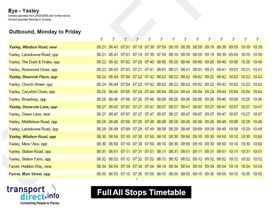 Full All Stops Timetable