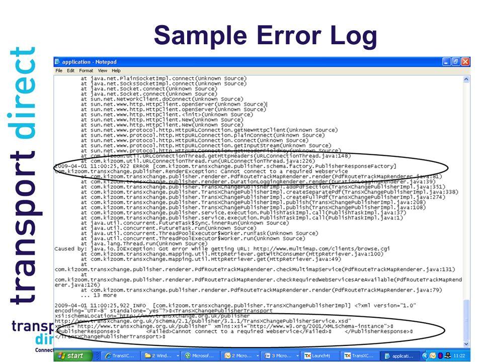 Sample Error Log