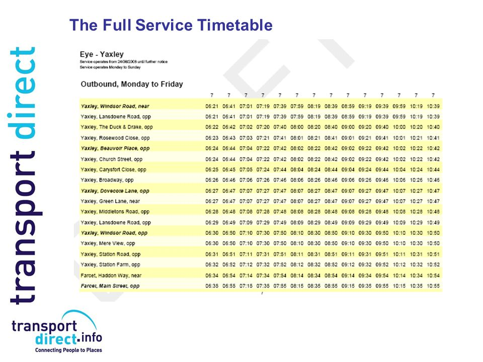 The Full Service Timetable