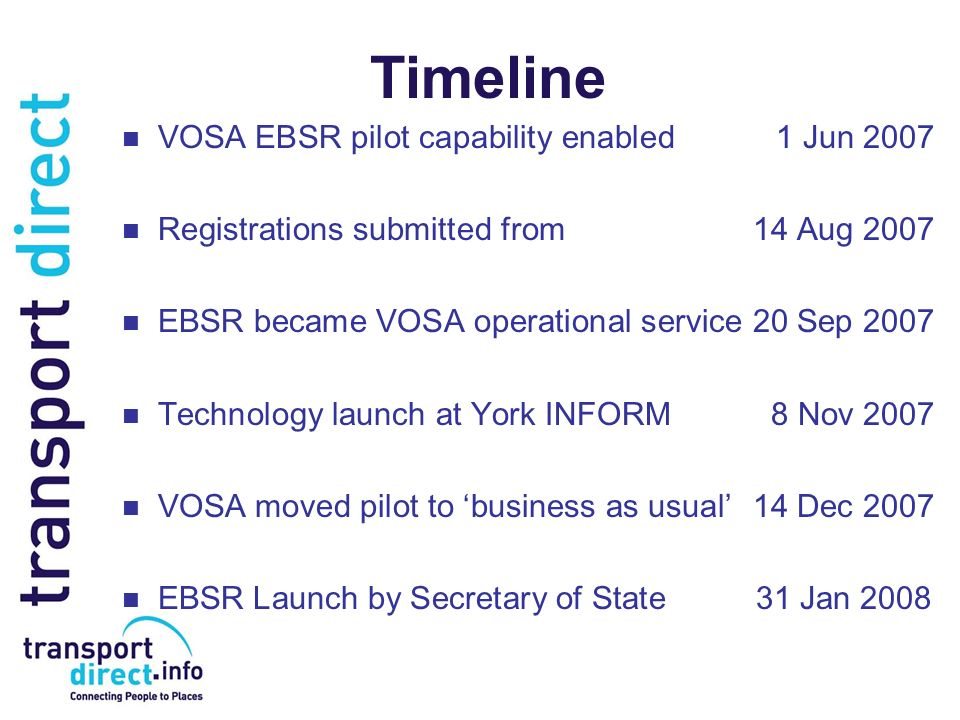 Timeline VOSA EBSR pilot capability enabled1 Jun 2007 Registrations submitted from14 Aug 2007 EBSR became VOSA operational service20 Sep 2007 Technolo
