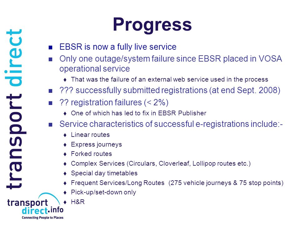 Progress EBSR is now a fully live service Only one outage/system failure since EBSR placed in VOSA operational service That was the failure of an exte