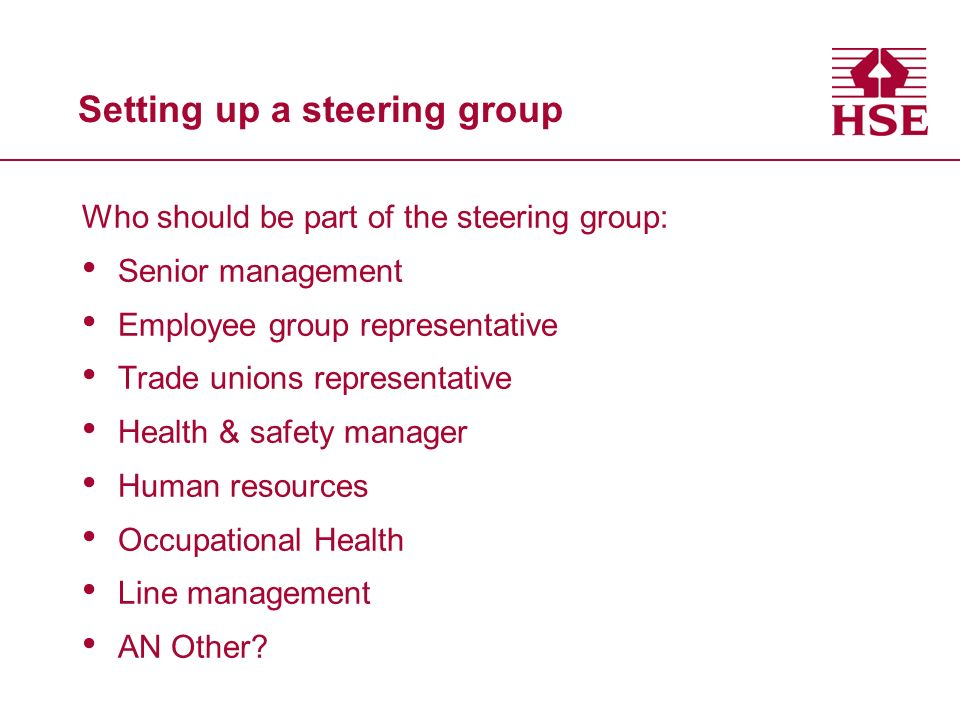 Setting up a steering group Who should be part of the steering group: Senior management Employee group representative Trade unions representative Heal