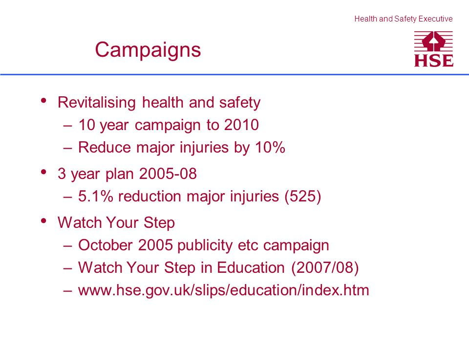 Health and Safety Executive Campaigns Revitalising health and safety –10 year campaign to 2010 –Reduce major injuries by 10% 3 year plan 2005-08 –5.1% reduction major injuries (525) Watch Your Step –October 2005 publicity etc campaign –Watch Your Step in Education (2007/08) –www.hse.gov.uk/slips/education/index.htm