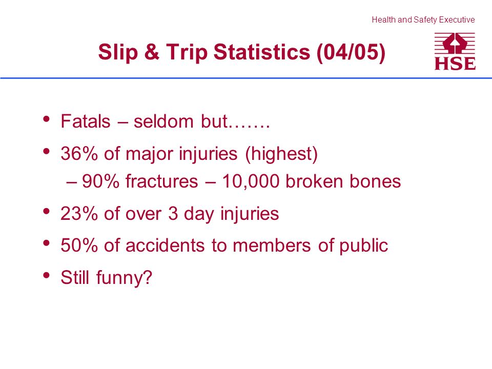 Health and Safety Executive Slip & Trip Statistics (04/05) Fatals – seldom but……. 36% of major injuries (highest) –90% fractures – 10,000 broken bones