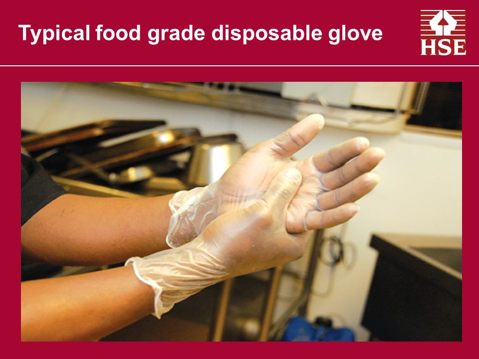 Typical food grade disposable glove
