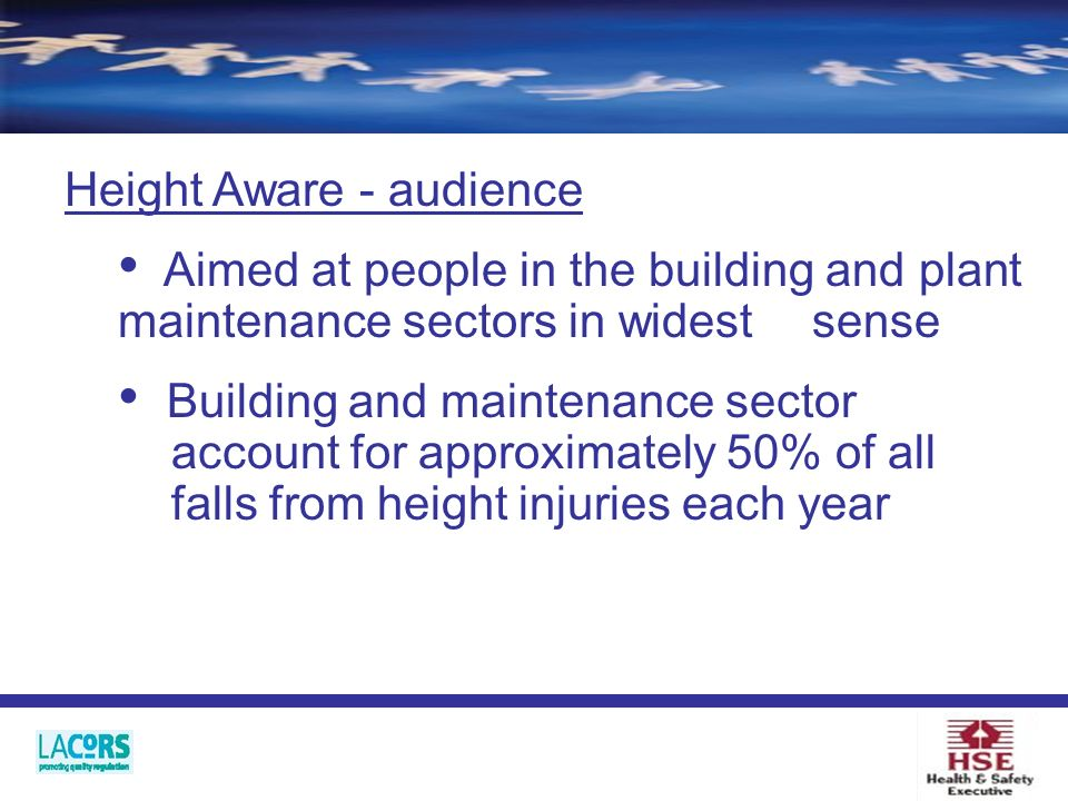Height Aware - audience Aimed at people in the building and plant maintenance sectors in widest sense Building and maintenance sector account for approximately 50% of all falls from height injuries each year