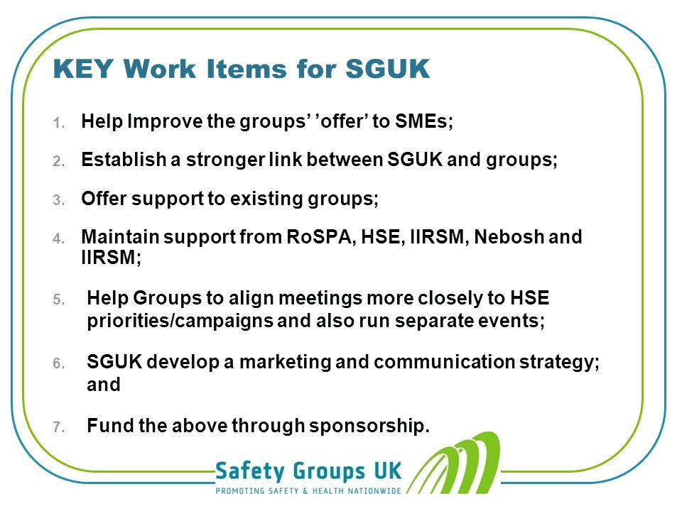 SGUK are grateful for the support they receive from their sponsors: Funding and Sponsorship