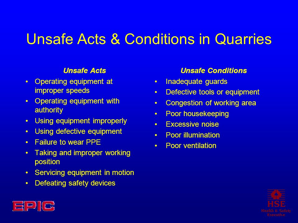 Unsafe Acts & Conditions in Quarries Unsafe Acts Operating equipment at improper speeds Operating equipment with authority Using equipment improperly Using defective equipment Failure to wear PPE Taking and improper working position Servicing equipment in motion Defeating safety devices Unsafe Conditions Inadequate guards Defective tools or equipment Congestion of working area Poor housekeeping Excessive noise Poor illumination Poor ventilation