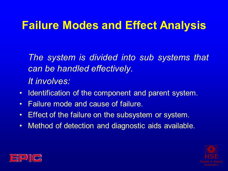 Failure Modes and Effect Analysis The system is divided into sub systems that can be handled effectively. It involves: Identification of the component