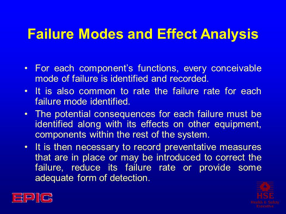 Failure Modes and Effect Analysis For each components functions, every conceivable mode of failure is identified and recorded. It is also common to ra