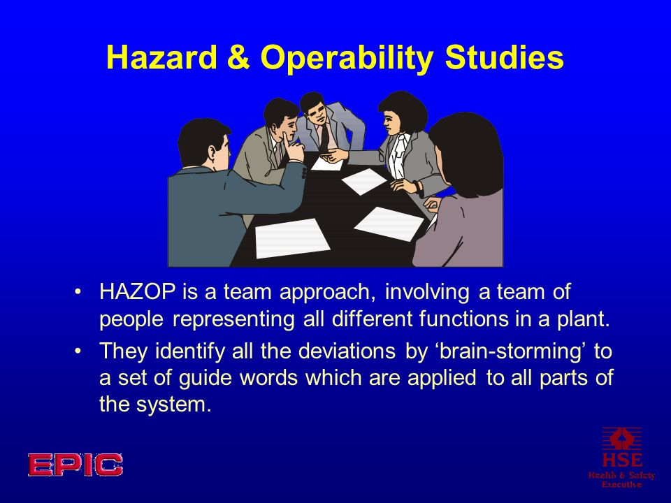 Hazard & Operability Studies HAZOP is a team approach, involving a team of people representing all different functions in a plant. They identify all t