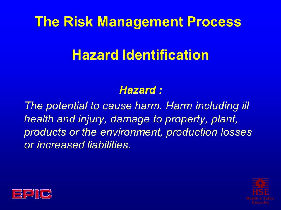 The Risk Management Process Hazard Identification Hazard : The potential to cause harm. Harm including ill health and injury, damage to property, plan