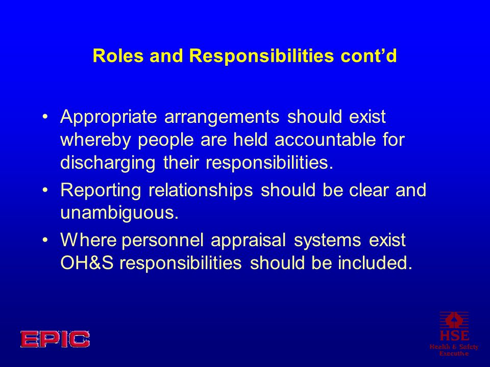 Roles and Responsibilities contd Appropriate arrangements should exist whereby people are held accountable for discharging their responsibilities.