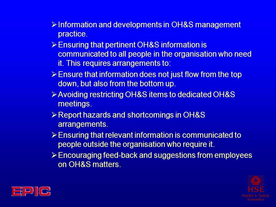 Information and developments in OH&S management practice.