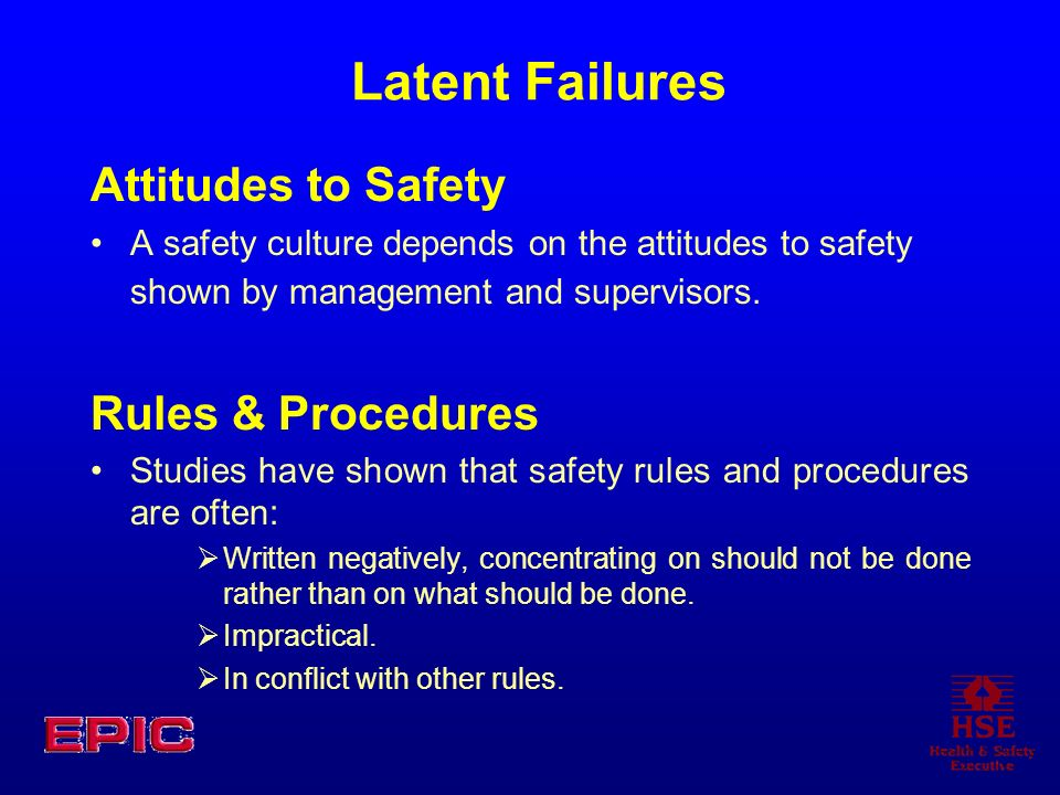 Latent Failures Attitudes to Safety A safety culture depends on the attitudes to safety shown by management and supervisors. Rules & Procedures Studie