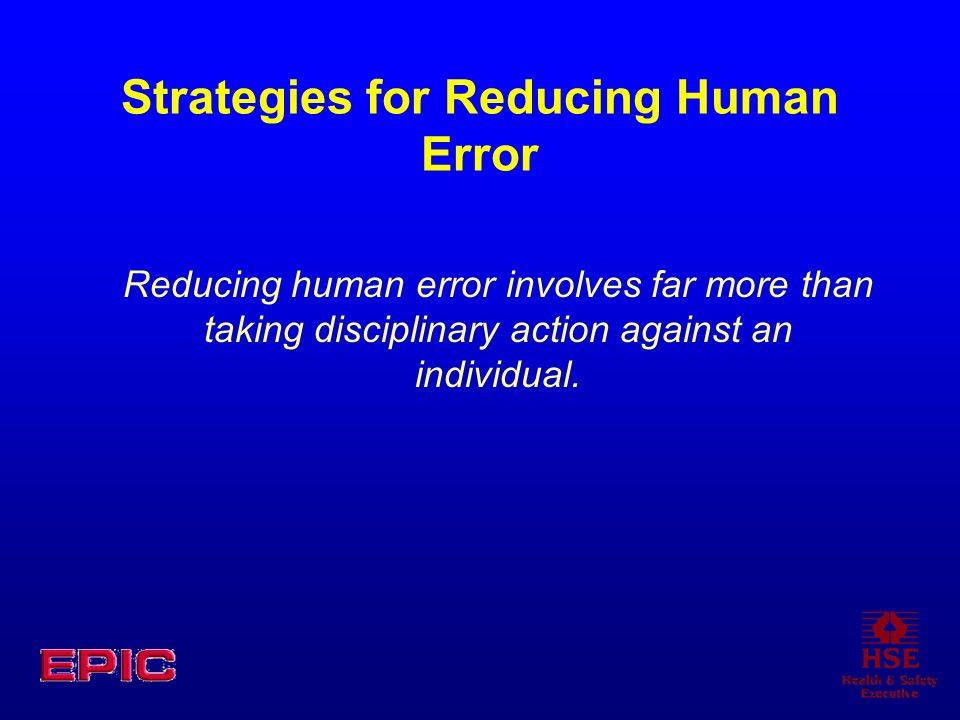 Strategies for Reducing Human Error Reducing human error involves far more than taking disciplinary action against an individual.