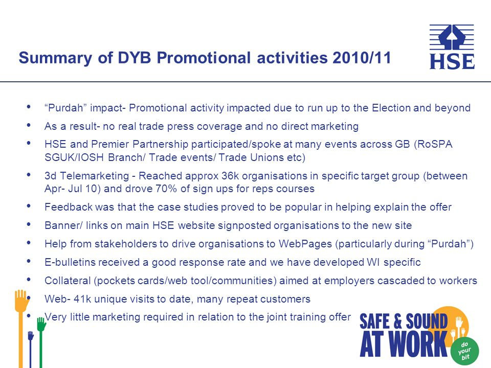 Summary of DYB Promotional activities 2010/11 Purdah impact- Promotional activity impacted due to run up to the Election and beyond As a result- no real trade press coverage and no direct marketing HSE and Premier Partnership participated/spoke at many events across GB (RoSPA SGUK/IOSH Branch/ Trade events/ Trade Unions etc) 3d Telemarketing - Reached approx 36k organisations in specific target group (between Apr- Jul 10) and drove 70% of sign ups for reps courses Feedback was that the case studies proved to be popular in helping explain the offer Banner/ links on main HSE website signposted organisations to the new site Help from stakeholders to drive organisations to WebPages (particularly during Purdah) E-bulletins received a good response rate and we have developed WI specific Collateral (pockets cards/web tool/communities) aimed at employers cascaded to workers Web- 41k unique visits to date, many repeat customers Very little marketing required in relation to the joint training offer