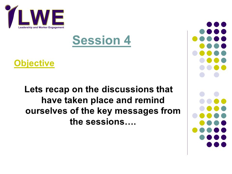 Objective Lets recap on the discussions that have taken place and remind ourselves of the key messages from the sessions…. Session 4