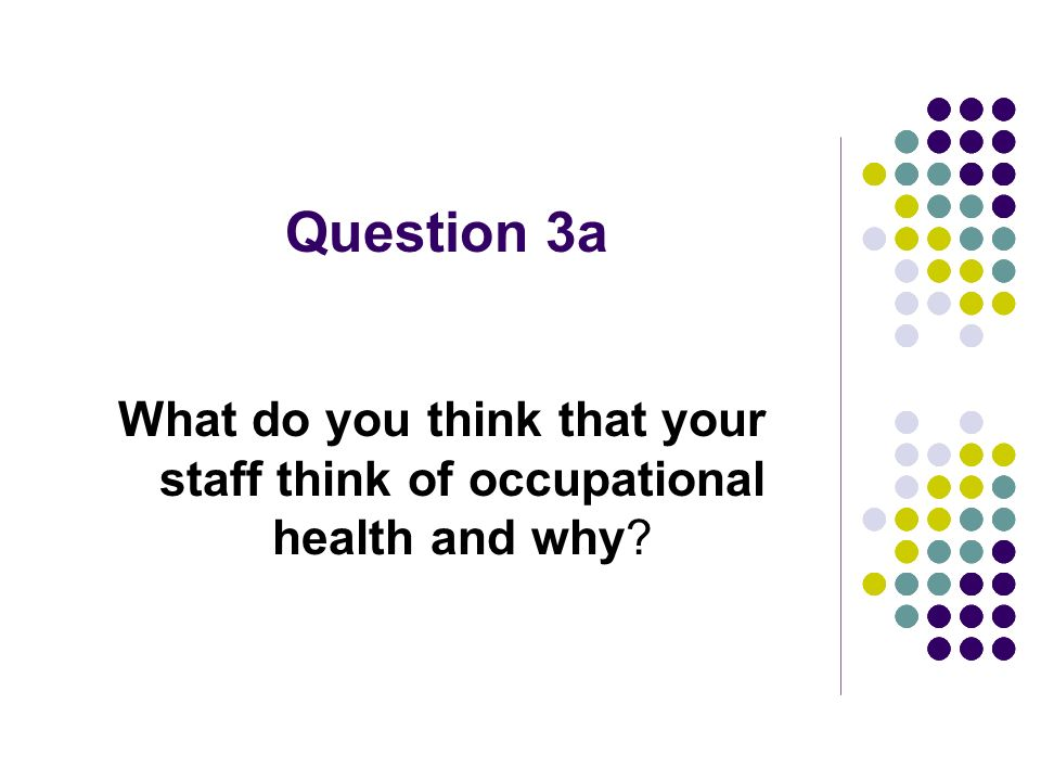Question 3a What do you think that your staff think of occupational health and why