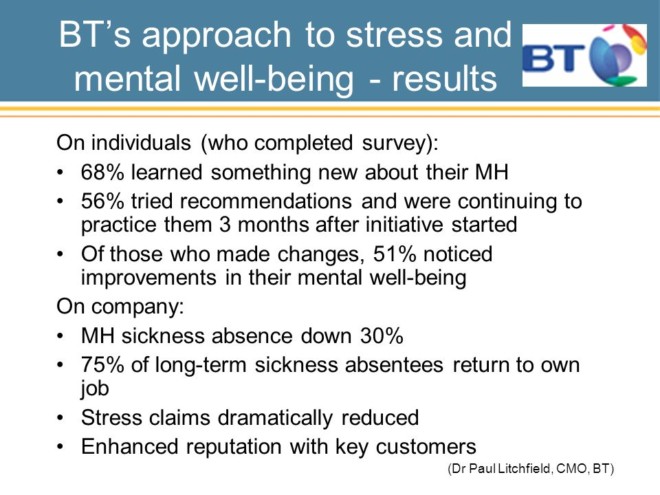 BTs approach to stress and mental well-being - results On individuals (who completed survey): 68% learned something new about their MH 56% tried recommendations and were continuing to practice them 3 months after initiative started Of those who made changes, 51% noticed improvements in their mental well-being On company: MH sickness absence down 30% 75% of long-term sickness absentees return to own job Stress claims dramatically reduced Enhanced reputation with key customers (Dr Paul Litchfield, CMO, BT)