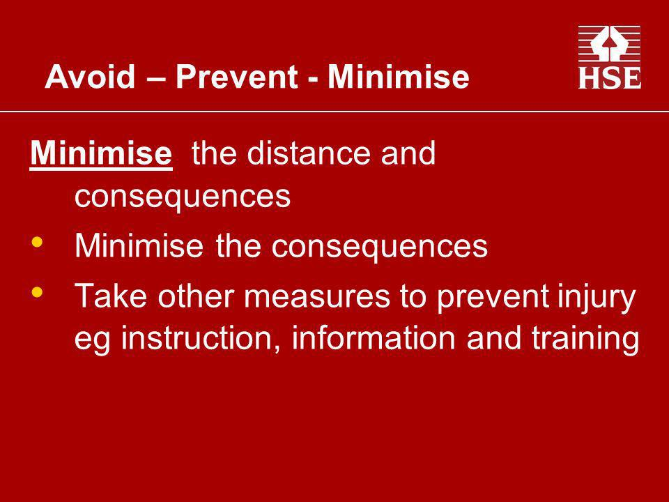 Minimise the distance and consequences Minimise the consequences Take other measures to prevent injury eg instruction, information and training Avoid