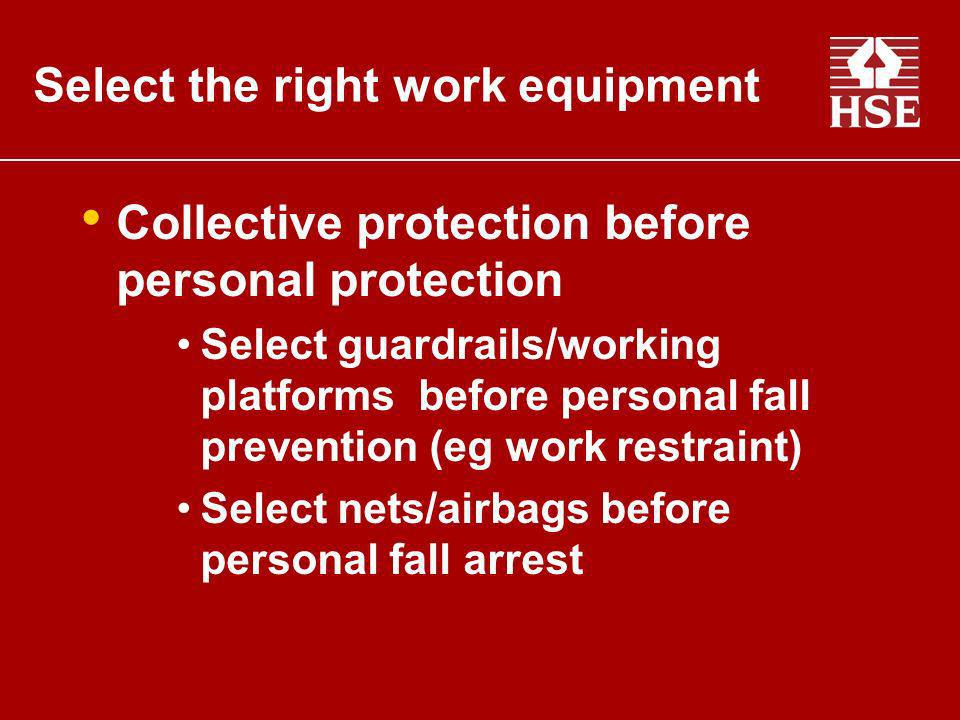 Collective protection before personal protection Select guardrails/working platforms before personal fall prevention (eg work restraint) Select nets/a