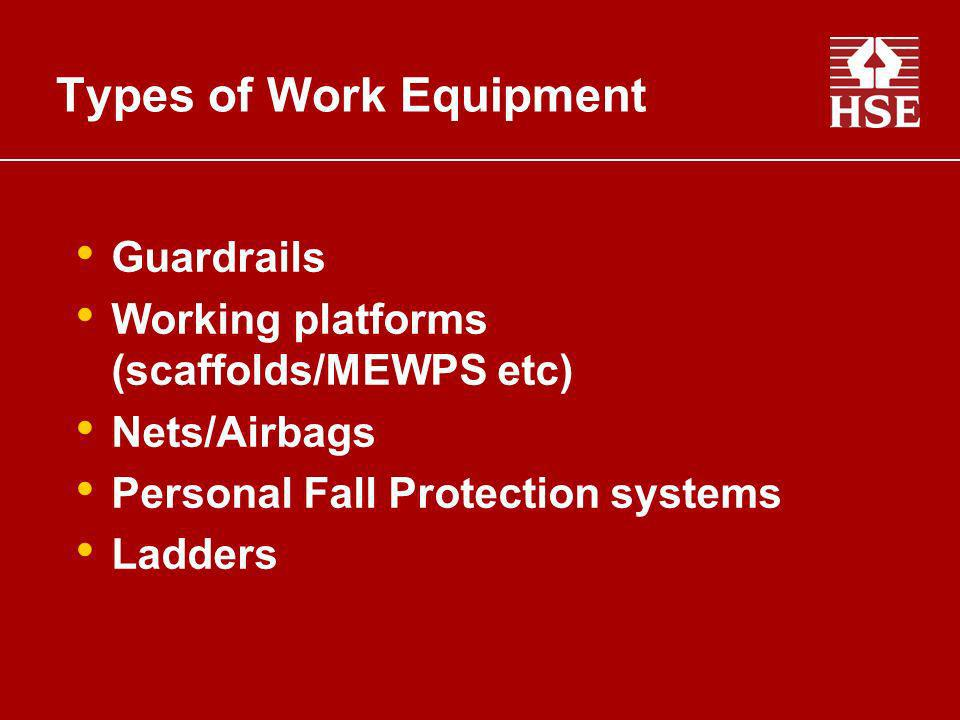 Types of Work Equipment Guardrails Working platforms (scaffolds/MEWPS etc) Nets/Airbags Personal Fall Protection systems Ladders