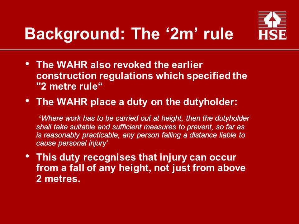 The WAHR also revoked the earlier construction regulations which specified the