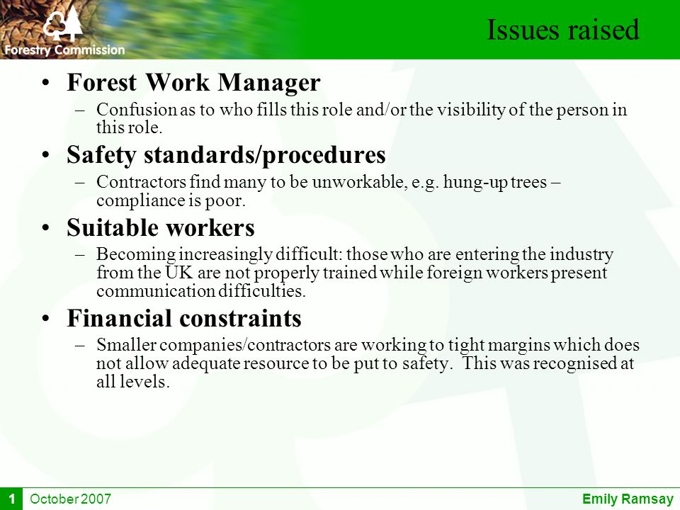 October 2007Emily Ramsay1 Issues raised Forest Work Manager –Confusion as to who fills this role and/or the visibility of the person in this role. Saf