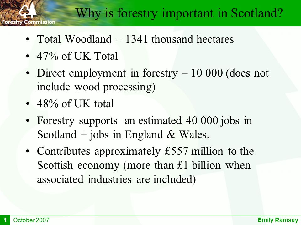 October 2007Emily Ramsay1 Why is forestry important in Scotland? Total Woodland – 1341 thousand hectares 47% of UK Total Direct employment in forestry