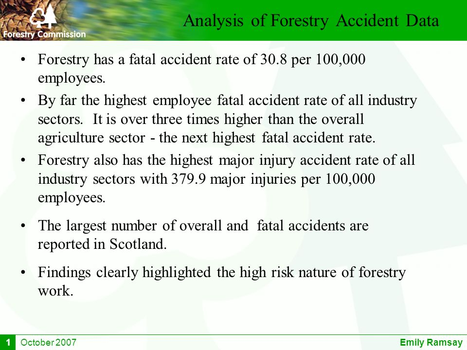 October 2007Emily Ramsay1 Analysis of Forestry Accident Data Forestry has a fatal accident rate of 30.8 per 100,000 employees. By far the highest empl