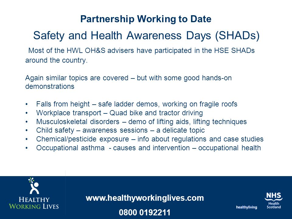 Safety and Health Awareness Days (SHADs) Most of the HWL OH&S advisers have participated in the HSE SHADs around the country.